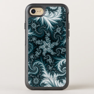 Cyan and white fractal pattern. OtterBox symmetry iPhone 8/7 case