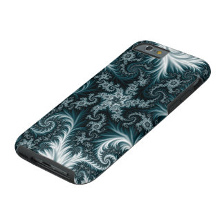 Cyan and white fractal pattern. tough iPhone 6 case