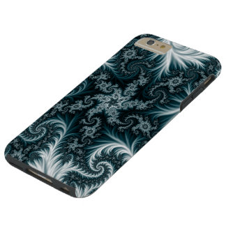Cyan and white fractal pattern. tough iPhone 6 plus case