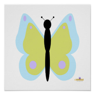 Cyan And Yellow Butterfly Print