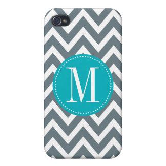 Cyan Blue and Grey Chevron Custom Monogram Case For iPhone 4