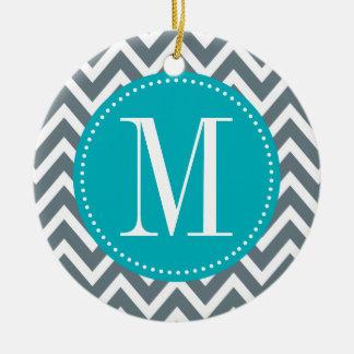 Cyan Blue and Grey Chevron Custom Monogram Christmas Ornament