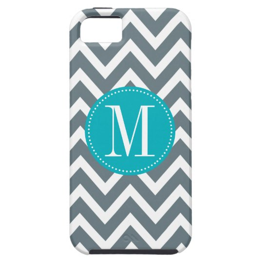 Cyan Blue and Grey Chevron Custom Monogram iPhone