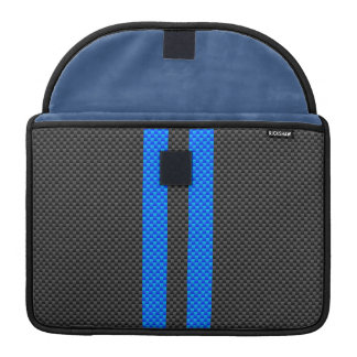 Cyan Blue Carbon Fiber Style Racing Stripes Sleeve For MacBooks
