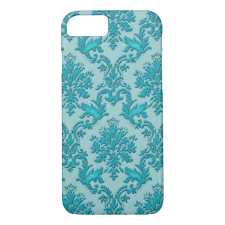 Cyan Blue Green and Black Damask iPhone 7 Case
