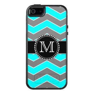 Cyan Blue, Grey, Black Chevron, Monogrammed OtterBox iPhone 5/5s/SE Case