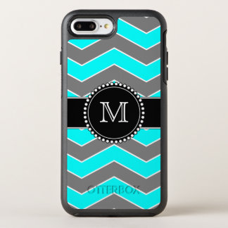 Cyan Blue, Grey, Black Chevron, Monogrammed OtterBox Symmetry iPhone 8 Plus/7 Plus Case