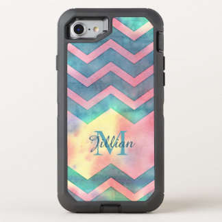 Cyan Blue, Grey, Black Chevron, OtterBox Defender iPhone 7 Case