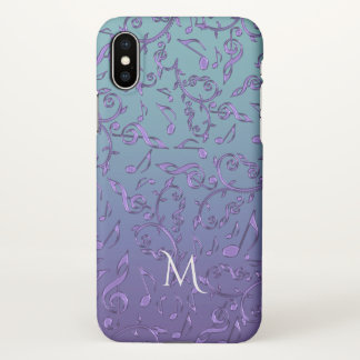 Cyan Blue Purple Music Notes Monogram iPhone X Case