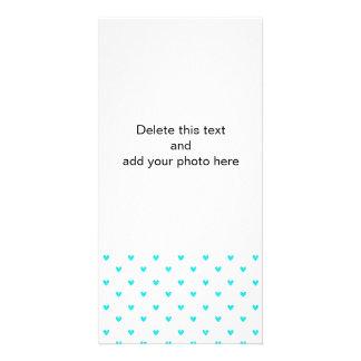 Cyan Glitter Hearts Pattern Customized Photo Card