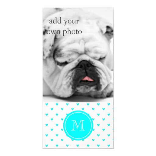 Cyan Glitter Hearts with Monogram Custom Photo Card