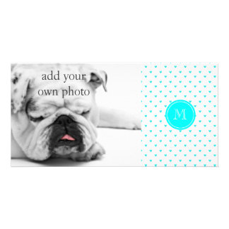 Cyan Glitter Hearts with Monogram Picture Card