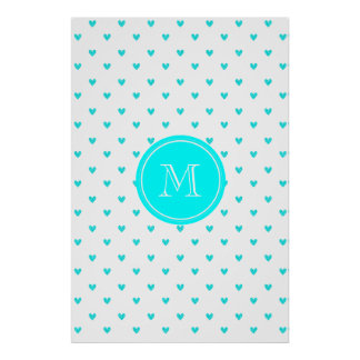 Cyan Glitter Hearts with Monogram Posters