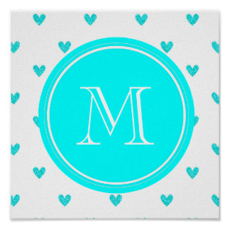 Cyan Glitter Hearts with Monogram Poster