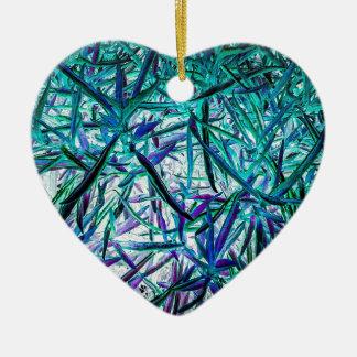 Cyan Grass Ceramic Heart Decoration