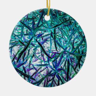 Cyan Grass Round Ceramic Decoration