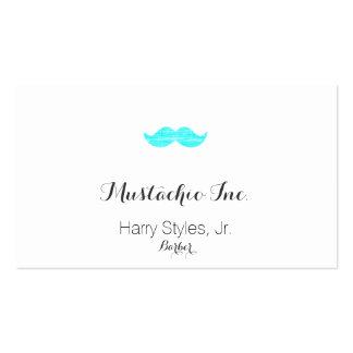Cyan Mustache (letterpress style) Business Cards
