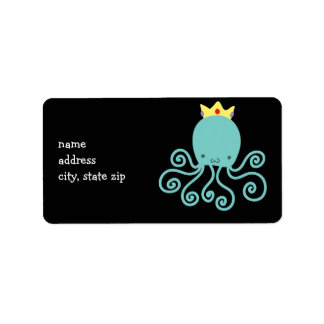 Cyan Octopus Princess Label