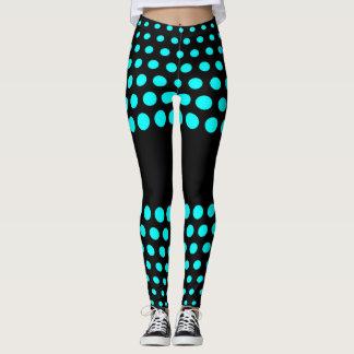 Cyan Polka Dot Pattern Leggings