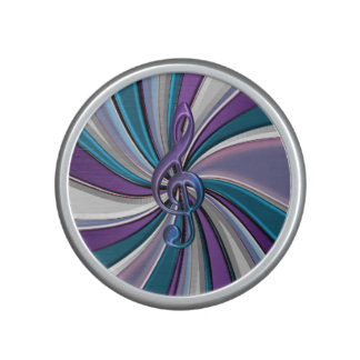 Cyan Silver Purple Music Clef Bluetooth Speaker