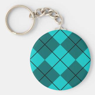 Cyan Teal Blue Argyle Basic Round Button Key Ring