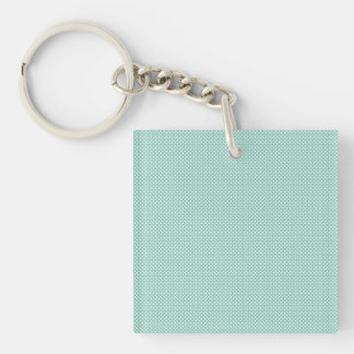Cyan With Simple White Dots Square Acrylic Key Chain