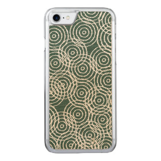 Cyan Wood Ikat Overlap Circles Geometric Pattern Carved iPhone 8/7 Case