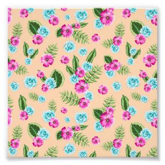 Cyan x Pink Flowers Pattern Photo