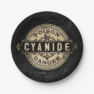 Cyanide Vintage Style Poison Label 7 Inch Paper Plate