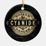 Cyanide Vintage Style Poison Label Round Ceramic Decoration