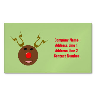 Cyber Christmas Reindeer Custom Business Cards Magnetic Business Cards