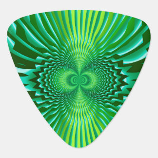 Cyber Green Neon Blue Optical Illusion Abstract Guitar Pick