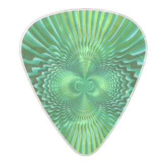 Cyber Green Neon Blue Optical Illusion Abstract Pearl Celluloid Guitar Pick