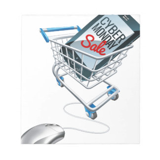 Cyber Monday Sale Phone Trolley Mouse Sign Notepad