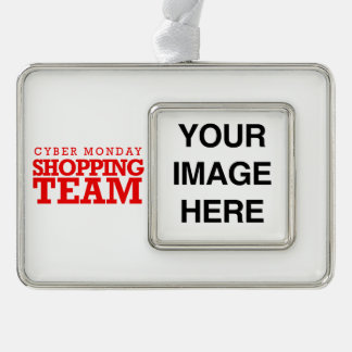 Cyber Monday Shopping Team -- Holiday Humor Silver Plated Framed Ornament