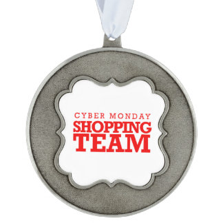 Cyber Monday Shopping Team -- Holiday Humor Scalloped Pewter Ornament