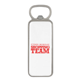 Cyber Monday Shopping Team -- Holiday Humor Magnetic Bottle Opener