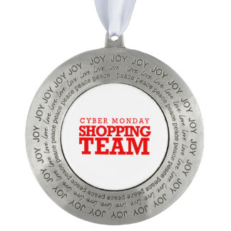 Cyber Monday Shopping Team -- Holiday Humor -.png Round Pewter Ornament