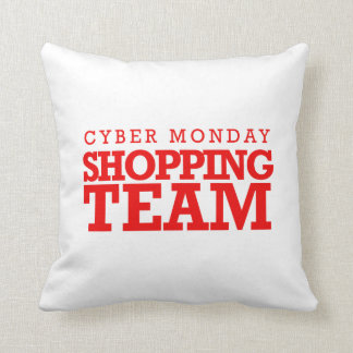 Cyber Monday Shopping Team -- Holiday Humor Throw Cushion
