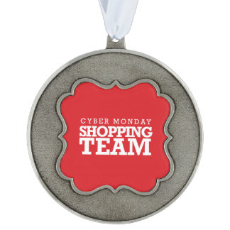 Cyber Monday Shopping Team Scalloped Ornament
