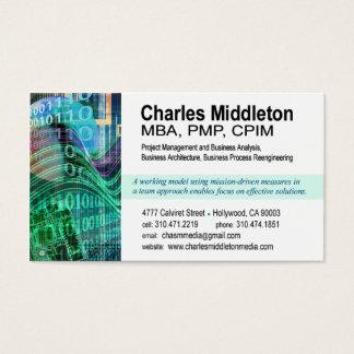 Cyber Tech-1 Business Card template (white/aqua)