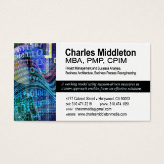 Cyber Tech-1 Business Card template (white/blue)