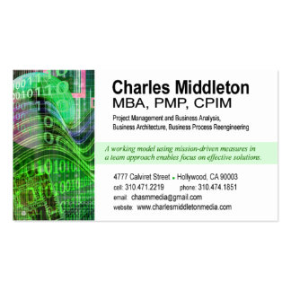 Cyber Tech-1 Business Card template (white/green)