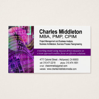 Cyber Tech-1 Business Card template (white/purple)