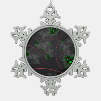 Cybernetic Interlink Fractal Pewter Snowflake Decoration