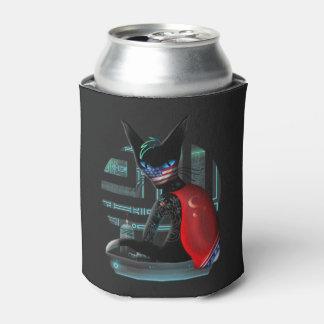 Cyberpunk Ninja Cat Can Cooler