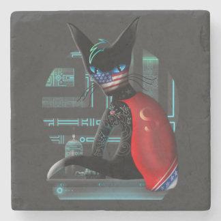 Cyberpunk Ninja Cat Stone Coaster