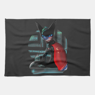 Cyberpunk Ninja Cat Tea Towel