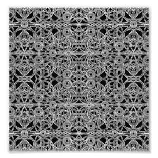 Cyberpunk Silver Print Pattern Photographic Print