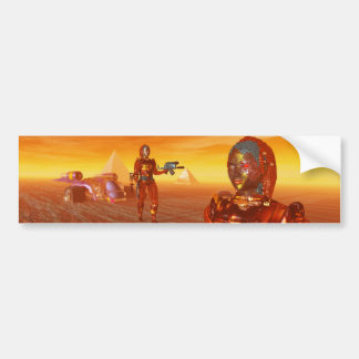 CYBORG ARES IN DESERT OF HYPERION Science Fiction Bumper Sticker